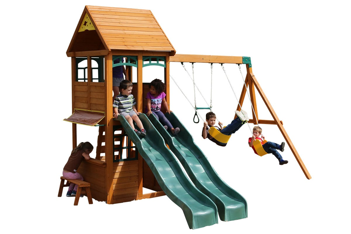 Mint climbing frame is great for letting kids race down the slides