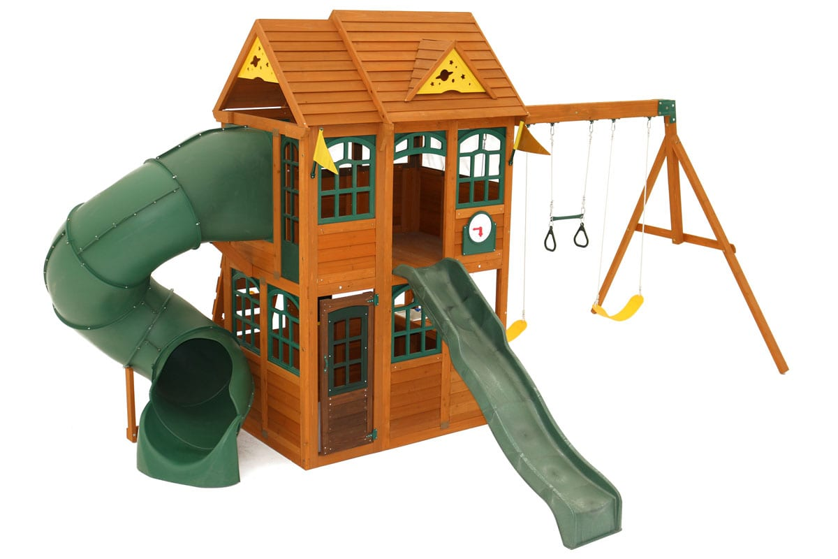 Rede Climbing Frame with tube slide, straight slide, swings and playhouse