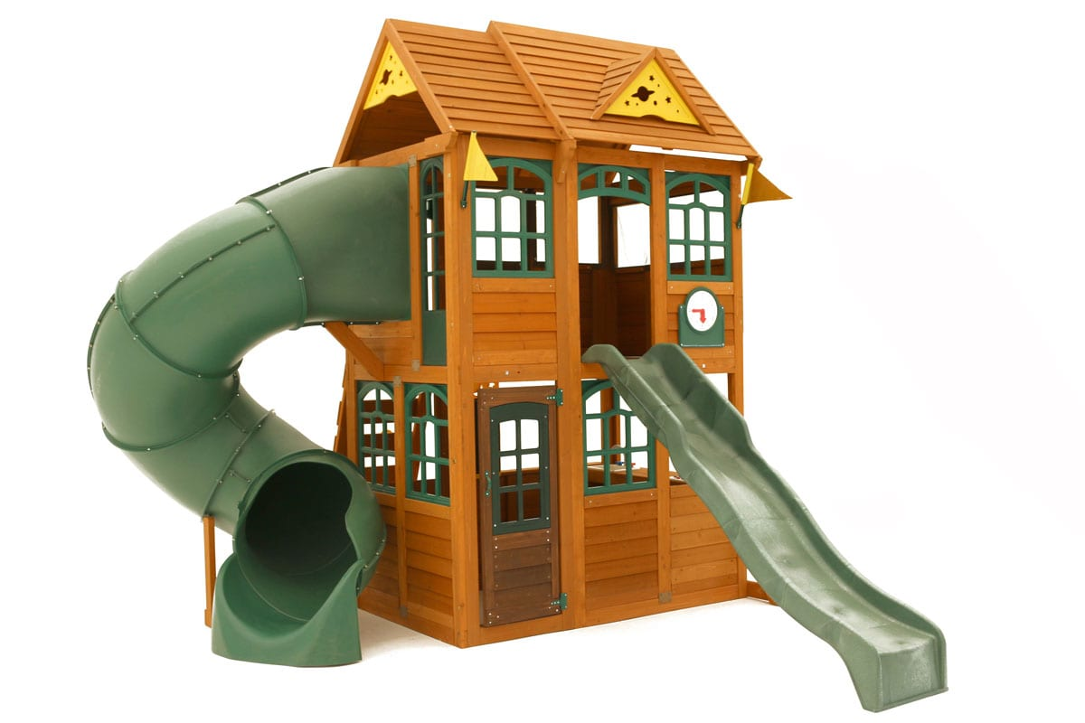 Rede Fort Wooden Climbing Frame with Tube Slide, Straight Slide, Lower Playhouse and Upper Cabin