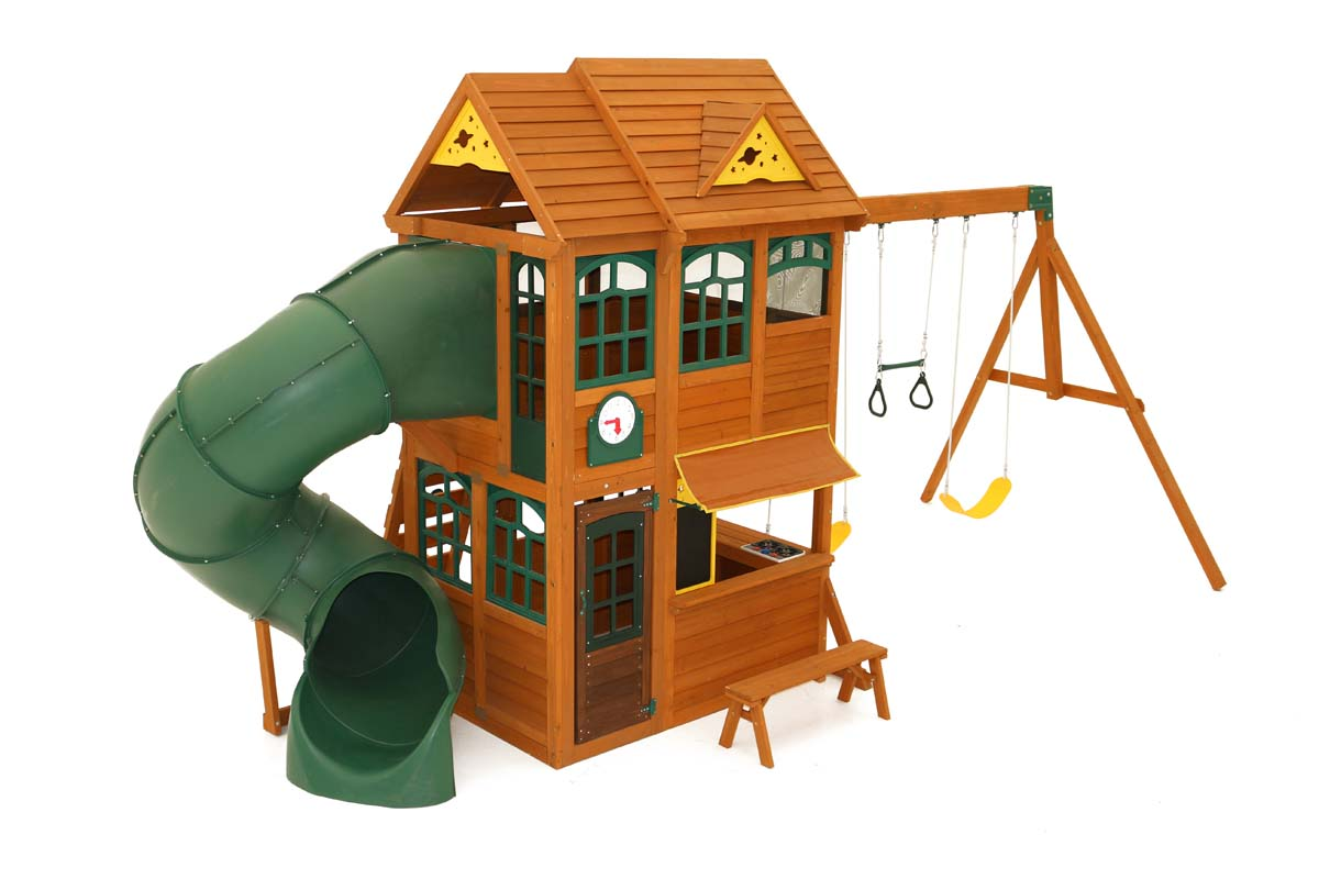 Toro Climbing Frame with tube slide, swings and lower playhouse